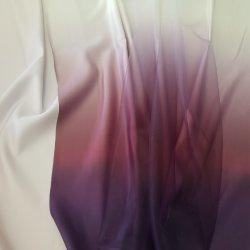 """Атлас матовый Омбре """"От белого к темно-фиолетовому"""""""